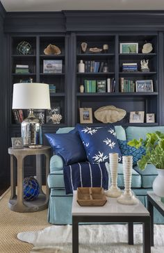 Painted builtins Ben Moore Hale Navy custom sofa + vintage books Kate Jackson Design