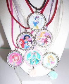 SET OF 6 DISNEY Princess's   BOTTLECAP Pendants Party Favors