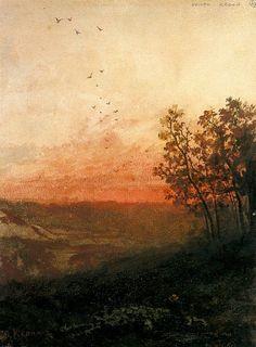Odilon Redon - Paysage au soleil couchant, au premier plan, un berger et son troupeau.