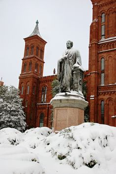 Joesph Henry, first Secretary of the Smithsonian, standing sentinel in the snow. National Mall, Garden S, Secretary, Washington Dc, Joseph, Castle, Snow, Spaces, Explore