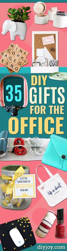 DIY Gift for the Office -  DIY Gift Ideas for Your Boss and Coworkers - Cheap and Quick Presents to Make for Office Parties, Secret Santa Gifts - Cool Mason Jar Ideas, Creative Gift Baskets and Easy Office Christmas Presents http://diyjoy.com/diy-gifts-office
