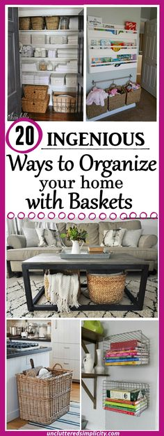 organize with baskets | wicker basket ideas | wire basket ideas | burlap basket ideas | basket storage via @CherylLemily