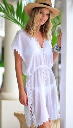Seafolly Tidal Wave Field of Dreams Kleid - Weiß - Lilly is Love Outfit Strand, Beach Kaftan, Lace Dress Styles, Beach Attire, Summer Work Outfits, Seafolly, Beach Dresses, Chic Outfits, Beach Outfits