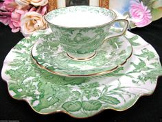 ROYAL CROWN DERBY TEA CUP AND SAUCER TRIO AVES BIRDS BUTTERFLY PEACOCKS GREEN in Antiques, Decorative Arts, Ceramics & Porcelain, Cups & Saucers | eBay