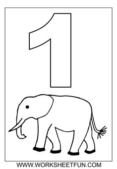 numbers coloring worksheets counting number 1 – Elephant