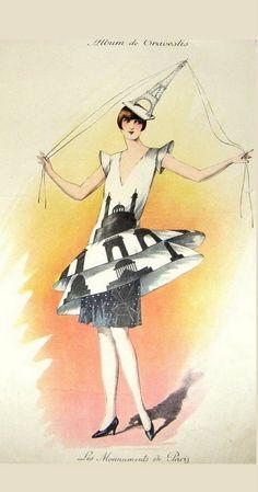 1920s Parisian Masquerade Costume Print - Les Monnuments de Paris.