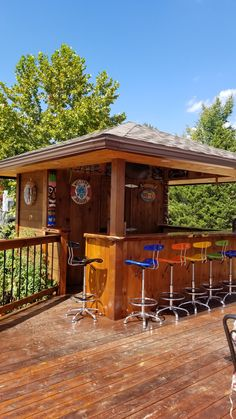 Our tiki bar / cabana we built by our pool with bathroom and changing area - blu. Pool Bar, Pool Side Bar, Deck Bar, Patio Bar, Deck With Bar, Outdoor Tiki Bar, Outdoor Kitchen Bars, Outdoor Bars, Pallet Patio Decks