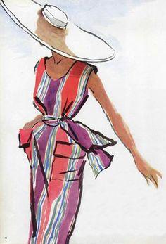 Ideas for hat fashion illustration christian dior Fashion Illustration Sketches, Fashion Design Sketches, Fashion Drawings, Vintage Dior, Mode Vintage, Fashion Prints, Fashion Art, Dior Fashion, 1950s Fashion