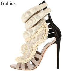 Perla Liste Sandali Donne Tacchi Sottili di Lavoro A Maglia Patchwork Sandali Zapatos Mujer Luxury Brand Donne Stivaletti Scarpe Donna