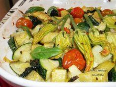 Cinco sentidos na cozinha: Courgette, flor de courgette, batata doce e tomate assados no forno