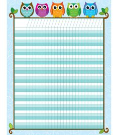 """Let these whimsical, multicolored owls motivate students in achieving their goals! Students will look forward to tracking progress and reaching goals with this playful Colorful Owls Mini Incentive Chart! With enough space to fit multiple assignments or goals, this chart can be used to keep track of completed assignments, reward positive behavior, and motivate students to reach goals! Includes one chart measuring 17"""" x 22""""."""