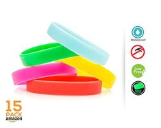 Mosquito Repellent Bracelet w Natural Citronella Oil for Kids  AdultsTravel Anti InsectDeet Free Glow in the Dark WristbandOutdoor  Indoor Bug BandSafe Non ToxicMulticolorWaterproof15 Pack ** To view further for this item, visit the image link.