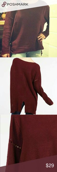 Long sleeve boat neck sweater wine color Long sleeve boat neck sweater with back slit. Sweaters Crew & Scoop Necks