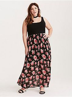 "<div>Tank on top, flowy flowers on bottom, this maxi dress pairs comfort with femininity. The stretchy black tank bodice feels like a fave tee, while the dramatic floral chiffon maxi skirt raises your profile. Perfect for long summer days that turn into hot summer nights.</div><div><b><br></b></div><div><b>Model is 5'9"", size 1</b></div><div><ul><li style=""list-style-position: inside !important; list-style-type: disc !important"">Size 1 measures 55 1/4"" from shoulder</li><li style..."