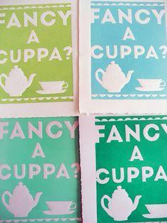 Fancy A Cuppa? Original Print by #paperpastries #tea #art #printmaking
