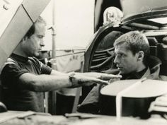 Harrison Ford and Ridley Scott on the set of Blade Runner (1982)