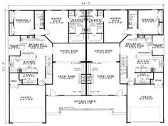 First Floor Plan of Traditional   Multi-Family Plan 61191