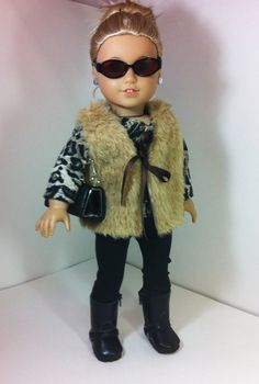 American Girl Doll Outfit Fully Lined Fur Vest by llullugirl, $25.00