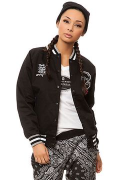 Crooks and Castles Jacket Double Barrel Varsity in Black $86