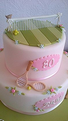 Tennis Cake, so cute, and can be adapted for men, or different age groups <3