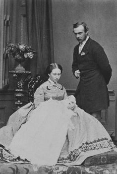 Prince and Princess Louis of Hesse and their infant daughter, Princess Victoria, 1863 [in Portraits of Royal Children Vol.7 1863-1864] | Roy...