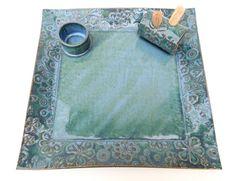 Large Slate Blue Textured Floral Ceramic by madhatterceramics