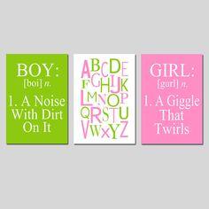Boy Girl Alphabet Trio Set of Three 11x17 Prints Kids by Tessyla, $65.00