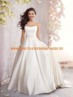 Alfred Angelo Schlichte Luxuriöse Brautkleider aus Taft mit Schleppe