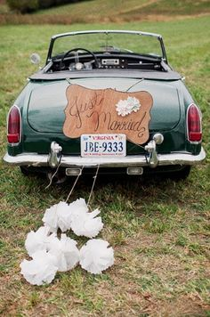 I would drive off with my husband in an old buggy, just married on the back of the car.