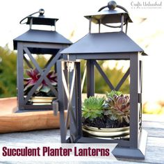 DIY Succulent Planter: Repurposed Lantern- Crafts Unleashed Earth Day is right around the corner, an Old Lanterns, Garden Lanterns, Metal Lanterns, Lanterns Decor, Summer Porch Decor, Diy Porch, Succulent Planter Diy, Planting Succulents, Propagate Succulents