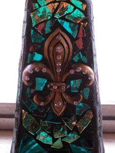 Triangle Fleur De Lis Mardi Gras Mosaic by StarStruckMosaics, $43.00