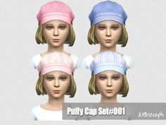 Child Puffy Cap Set#001  Found in TSR Category 'Sims 4 Accessories Sets'