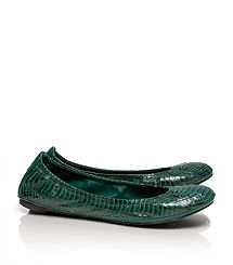 Watersnake Eddie Ballet Flat. Malachite... THE color for Fall, says Tory!