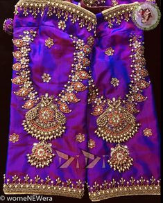 Jeweled Blouse Designs Jeweled Blouse designs for Sarees Jeweled Blouses are trendy nowadays with a lot of creativity hitting this year. I have already posted different var… Wedding Saree Blouse Designs, Half Saree Designs, Fancy Blouse Designs, Blouse Neck Designs, Wedding Blouses, Sleeve Designs, Maggam Work Designs, Designer Blouse Patterns, Pattern Blouses For Sarees