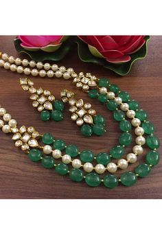 Shop Green Alloy Necklace Set With Earrings 176225 online from huge collection of indian ethnic jewellery at m. Kundan Jewellery Set, Indian Jewelry Earrings, Indian Jewelry Sets, Indian Wedding Jewelry, Emerald Jewelry, Beaded Jewelry, Gold Jewelry, Indian Necklace, Emerald Necklace