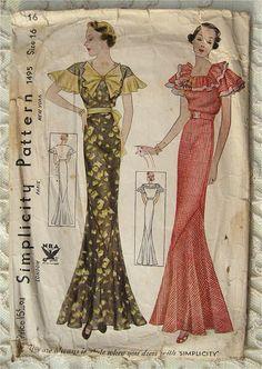 Simplicity 1495 | 1930s NRA  Bias Cut Evening Dress w Ruffled Neck Flutter Sleeves