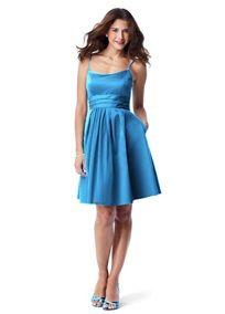 Short Cotton Sateen Spaghetti Strap Dress (Cornflower Color)