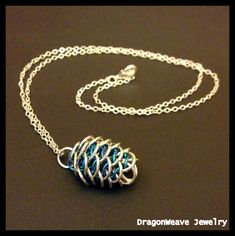 #Dragon Egg Pendant Dragonscale #chainmaille Blue by DragonweaveJewelry, $40.00