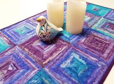 """Modern Quilted Table Runner, Striped Squares Table Topper, Turquoise Blue Purple Plum Batik Table Runner, 18""""x36"""" by VillageQuilts on Etsy Dark Wood Dining Table, Tablerunners, Quilted Table Runners, Iron On Applique, Square Tables, Table Toppers, Machine Quilting, Green And Gold, Pillar Candles"""