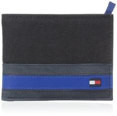 Tommy hilfiger exeter passcase billfold with bill compartment, four credit card pockets, extra storage compartments, removable pass and metal plaque logo