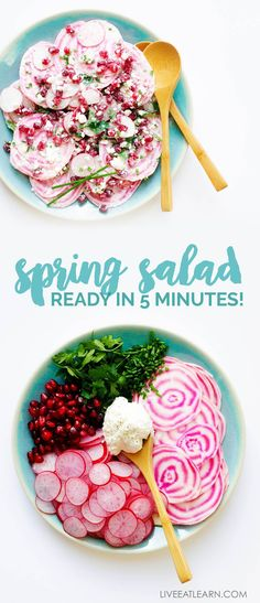This Spring Radish Salad recipe is super quick to throw together and is a light and flavor packed dish to brighten up your spring! #vegetarian #salad #veggies #vegetarianrecipes #beets