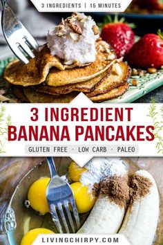 An easy recipe for healthy flourless banana and egg pancakes that doesn't fall apart. Just 3 ingredients and 20 minutes needed. Gluten-Free. Keto. Low Carb. Paleo. Best Gluten Free Recipes, Paleo Recipes Easy, Low Carb Recipes, Sweet Recipes, Delicious Recipes, Low Carb Breakfast, Healthy Breakfast Recipes, Free Breakfast, Flourless Banana Pancakes
