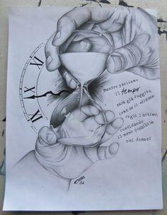 Time by SpleenArt on DeviantArt Tattoo Design Drawings, Art Drawings Sketches Simple, Tattoo Sleeve Designs, Pencil Art Drawings, Tattoo Sketches, Sleeve Tattoos, Daddy Tattoos, Father Tattoos, Baby Feet Tattoos