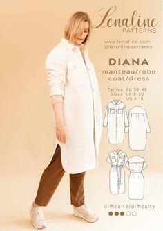 Diana, Coat Dress, Shirt Dress, Couture, Pretty Summer Dresses, Bias Tape, Winter Coat, Chambray, Sewing Patterns