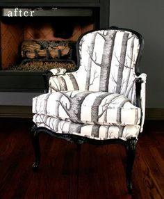 Reupholstered chair. (Channeling Ansel Adams, no?) Via Design Sponge. by maritza