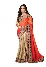 Shonaya Orange & Beige Color Net & Satin Georgette Embroidery Saree With Unstitched Blouse Piece