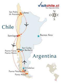 Viaje Mapa visitando Chile y Argentina Santiago de Chile, Puerto Varas, Torres del Paine, El Calafate Bariloche y San Pedro de Atacama