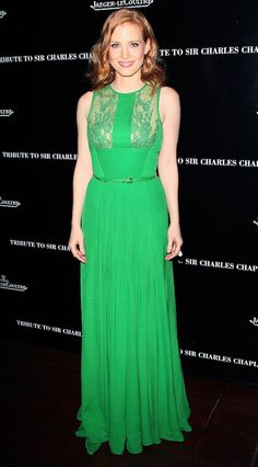 Jessica Chastain Wears a Bright Green Elie Saab Gown