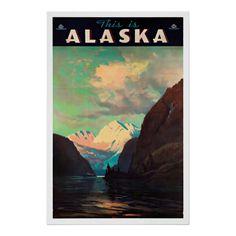 USA - This is Alaska - (artist: Laurence c. - Vintage Advertisement (Art Print Available) Art Vintage, Vintage Ads, Vintage Gifts, Vintage Style, Tourism Poster, Travel And Tourism, Travel Trip, Travel News, Travel Hacks