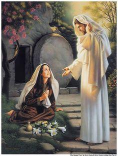 Jesús habla con María al haber resucitado y le pide que les de el  mensaje a los apóstoles.